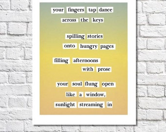 Writing Art Print, Poetry For Writers, Word Art Poem About Writing, Yellow And Green Typography, Gift For Authors, Writers, Storytellers