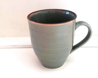 Ceramic cup  Ceramic mug  Large coffee cup Large tea cup Green pottery cup Ceramics and pottery Tea lover gift Tea lover mug