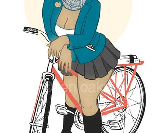"Curvy Pinup - 8x10 art print / fat, bbw, body positive, academic schoolgirl black woman with bike ""Off Campus"""