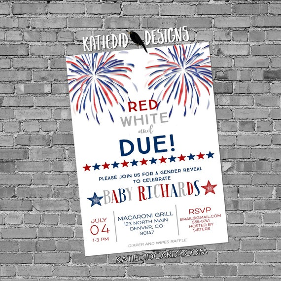 gender reveal invitation baby shower 4th of July couples coed American Patriotic diaper wipes BBQ picnic firecracker due | 1478c Katiedid