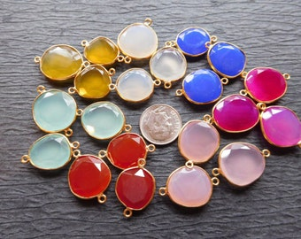 12% Less Sale .. Gemstone Connector,, Link Pendant, Bezel Set CHALCEDONY, Sterling Silver or 24k Gold Plated, oval gcl8 ll wf