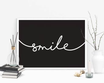 Smile, black and white poster, printable quote, wall art, digital prints, typography poster