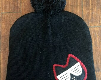 Kanye Glasses Cat Black Pom Pom Beanie Winter Hat