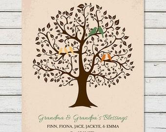 FAMILY TREE with GRANDCHILDRENS names, Family Tree Gift for Grandparents, Grandchildren Family Tree Print, Gift for Grandma Grandpa