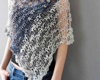Loose knit poncho. Cotton women poncho. Summer knit.