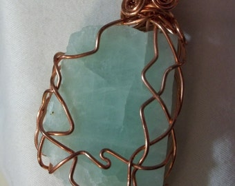 Raw, rough natural adventurine pendant wire wrapped  Necklace