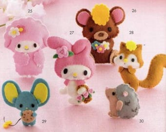 125 Felt Character Mascots Japanese Handmade Craft Pattern e-Book Instant Download /eBook / PDF / Pattern / Instant Download.