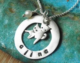 Custom mommy and baby cat sterling silver necklace - mom necklace - personalized with name and birthstone pearl Valentine gift