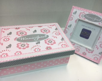 GIFT SET of  Pink and Gray Flowered Frame and Memory Box