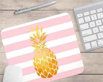 Gold Foil Pineapple Mouse Pad, Glitz Mouse Pad, Light Pink and White Stripes Mouse Pad, Personalized Mouse Pad, Name On Mouse Pad (0085)