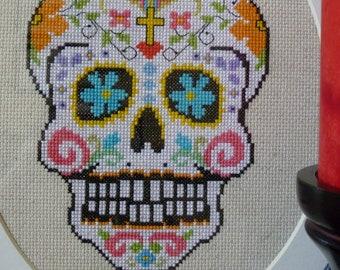 White Sugar Skull Cross Stitch Pattern
