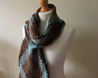 Argyle Scarf in Brown and Blue