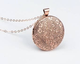 Photo Necklace, Layered and Long Rose Necklace Locket, Floral Rose Gold Lockets, Rose Gold Jewelry, Paisley Leaves Pink Jewelry