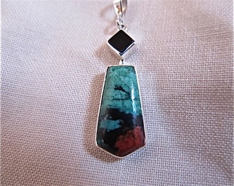 silver chrysocolla cuprite black onyx pendant