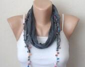gray scarf cotton scarf oya scarf shawls gifts for her birthday women scarf fashion scarf
