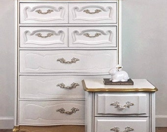 French Provincial 5 Drawer Dresser with Nightstand / Girls Bedroom