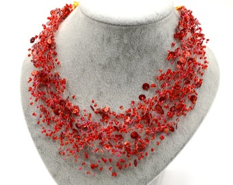Red necklace, Sequins jewelry, Seed bead beadwork, Air, Layered, Multistrand, Beaded, Fashion, Handmade, Trendy jewellery, Unique gift