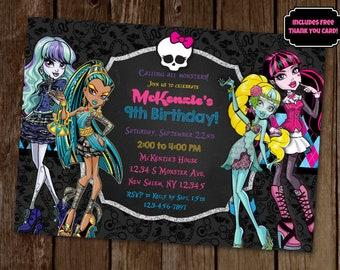 Monster High Invite, Monster High Birthday, Monster High Party, Draculaura Invite, Cleo De Nile Invite, Twyla Invitation, Lagoona Blue