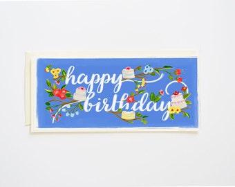 Happy Birthday Card Branches & Cake
