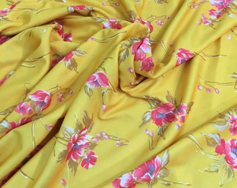 """Vintage Yellow Floral Knit Fabric 62"""" W x 70""""- yellow floral polyester knit fabric, yellow print fabric, yellow knit fabric, spring fabric"""
