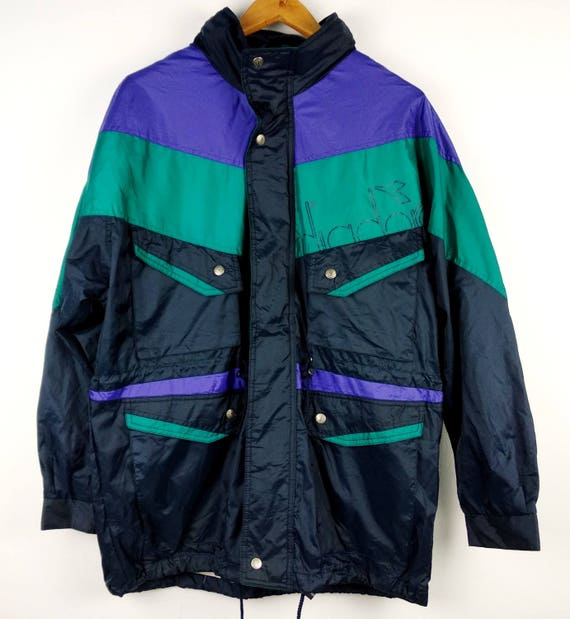 Vintage Diadora Sport Multicolor Windbreaker Hoodie Jacket Large TxeOdqH