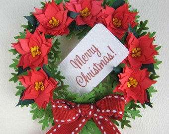 Poinsettia Collection (Fringed Flowers and Wreath Card) - Quilling Patterns Tutorial - SVG files with PDF instructions