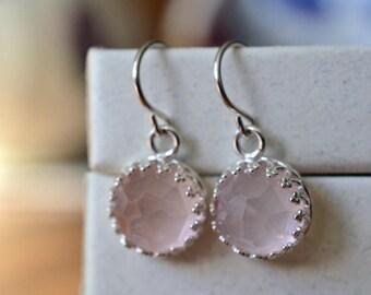 Rose Quartz Earrings, Natural 10mm Pink Gemstone Dangles, Dangly Sterling Silver Bridal Earrings, Wedding Earrings, Handmade Quartz Drops,