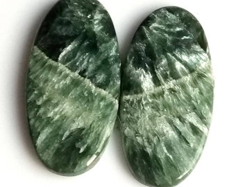 Seraphinite Oval Smooth Cabochon, Natural Seraphinite Designer Cabochon Pair, 24x15 MM, 29 Cts, Loose Gemstone Pair.