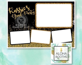 Black and Gold Glitter graduation Photobooth Template 4x6 Postcard or 2x6 Strips