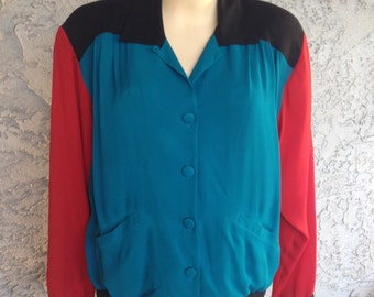 Vinatge Red, Teal, Moss Green Long Sleeve Button Up Color Block Blouse with Front Pockets