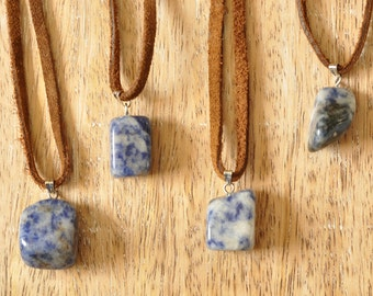 Blue Spotted Sodalite Gemstone Suede Necklace