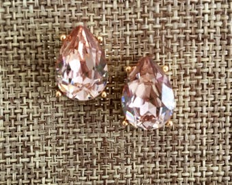 Champagne Earrings - Crystal Studs - Bridessmaid Jewelry