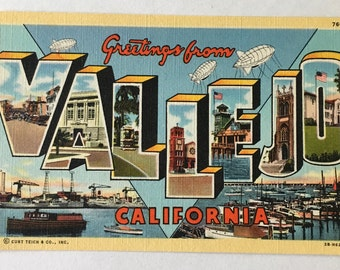California postcard etsy vallejo postcard vintage greetings from vallejo california large letters souvenir postcard unused unposted 1950s m4hsunfo