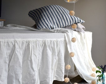 Box Pleated Ivory Heavy Weight Rustic Linen Bedskirt Valance