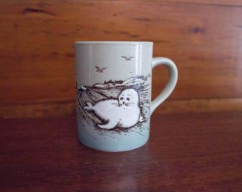Down East Crafts Glazed Ceramic White Seal Mug