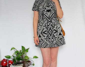 Dress autumn winter geometric pattern