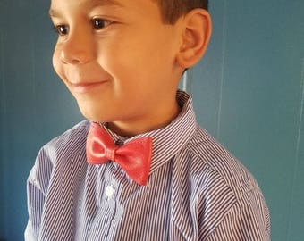 Leather Bow Tie, red bow tie, Mr. Parker, classy- spiderman- dapper-dapper kids-kids bow tie- super hero- red leather- classy kids- bespoke-