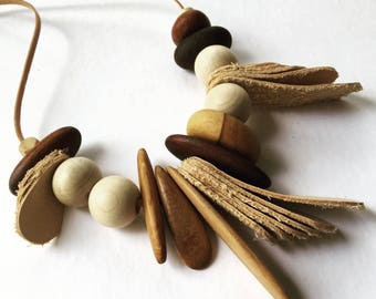 Recycled leather with Australian timber beads necklace by Mainichi