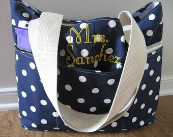 Personalized Gift for Teacher - Teacher Bag - Teacher Tote - Monogrammed Tote - Teacher Gifts - Gift for Teacher - Tote With Pockets