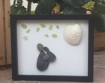 I Love You to the Moon and Back pebble art
