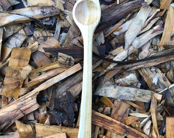 Hand carved cherry wood coffee scoop