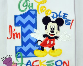 1st- Twodles -Mickey - Mouse- Club- Inspired- Birthday - oh -Toodles - Shirt -  Embroidery -Personalize- Custom -First- Second -Name- party
