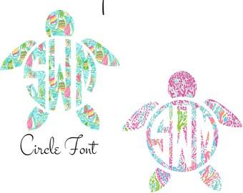 Monogram Car Decal, Car Monogram, Monogram Turtle Decal