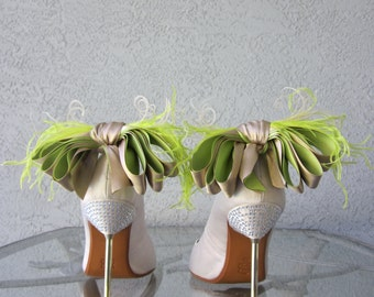 Nude And Lime Satin Ribbon Bow And Feather Shoe Clips