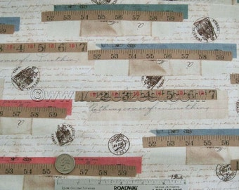 1 Yard - RULER COLLAGE Antique Script Quilt Fabric - Tracie Huskamp Mixed Media Collage Garden Tales - Windham Fabrics - Last Piece