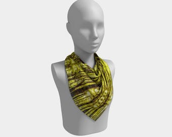 Pine Forest in Yellow Square Scarf