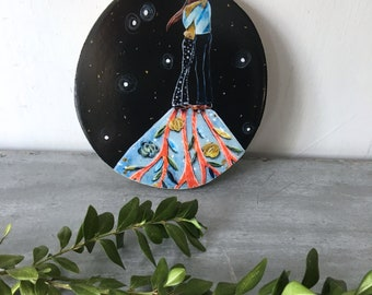 Engagement gift, wedding gift, love grew deep, home decor, starry sky, floral, gift for her, shellieartist, Mounted Print, wood slice