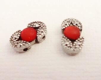 Crystal Slider Bead, 2 Hole Bead, Red Crystal Slider, Oval Slider Bead, Red Slider Bead, Metal Slider, Jewelry Supply, Beading Supply