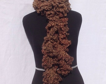 Curly Boa Scarf in Brown