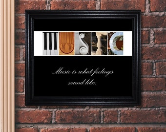 Music Quote Print, Music Gift, Music Sign, Music Quote, Alphabet Art Photography, Inspirational Sign, Inspirational Quote